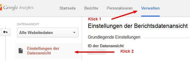 In Google Analytics findet ihr die Funktion unter Verwalten -> Einstellungen der Datenansicht.