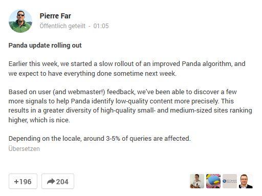 Panda 4.1 soll kleinere und mittlere Webseiten wieder besser ranken lassen.