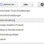 Hier findet ihr die Funktion zur Adressänderung in den Webmaster Tools