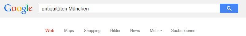 """Google Suche nach """"Antiquitäten München"""""""