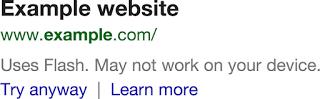 Warnung vor dem Flash-Plugin in den Suchergebnissen.
