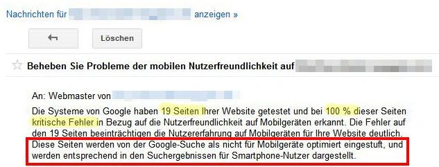Google warnt vor Problemen mit der Darstellung auf Mobilgeräten und nennt auch gleich die Konsequenzen.